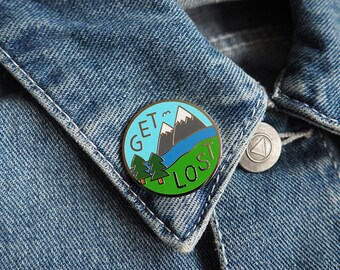 Get Lost Hard Enamel Pin, Mountain Pin, Adventure Pin, Explore Pin, Hiking Pin, Cute Funny Pin, Nature Pin, Let's Get Lost, Stocking Filler