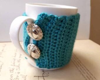 Turquoise Crochet Coffee Cup Sleeve.  Handmade Crochet Cup Cozy.