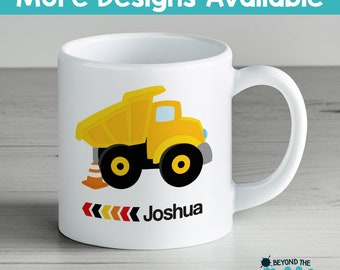 Personalised Vehicle plastic cup or Ceramic Toddler Cup - Children's Mug - Digger - Dump Truck - Cement Mixer - Tow Truck - BPA Free