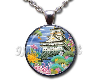 Asian House Home Colorful Glass Dome Pendant or with Chain Link Necklace AP144
