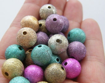 25 Moon dust beads 12mm  random mixed B141
