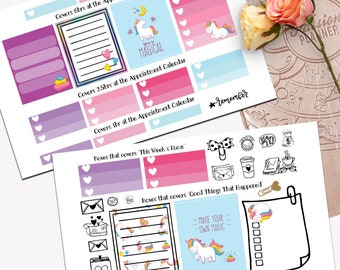 Fabulous Unicorn Theme Planner Weekly Sticker SMALL Kit, Passion Planner Sticker, Weekly Set, Sticker, Printed, Cut, Rainbow, Majestic AF