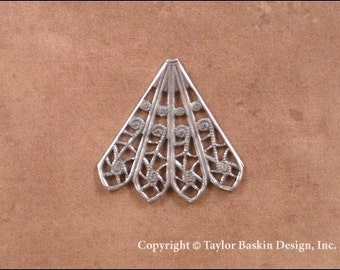 Antiqued Sterling Silver Plated Victorian Filigree Angel Pin Skirt or Earring Component (item 607 AS-4 Point) - 6 Pieces