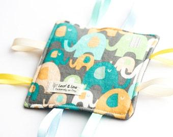 Happy Elephant | Crinkle Tag Sensory Toy - elephant, animal, ribbon tag sensory crackle toy, eco-friendly, gender neutral baby, teal, orange