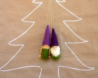 Christmas ornament Gnomes- Green and Purple - Waldorf Inspired Figurines