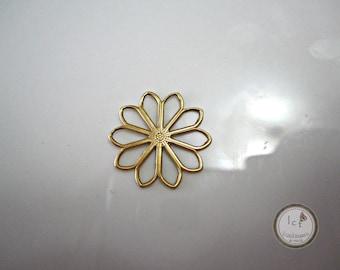 Raw Brass Flower Filigree Brass Ten Petal Flower Filigree Findings Brass Flower Filigree Brass Jewelry Supplies 19mm (1 pc) 27V7