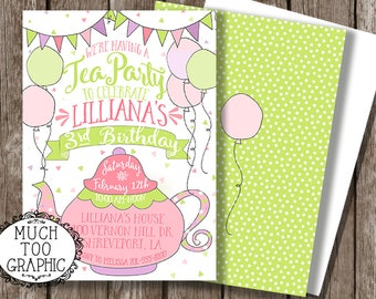 Tea Party Birthday Invitation - Tea for Two Birthday Invitation - 1st birthday 2nd Birthday Tea for 2 Pink Green & Purple - Photo Invitation