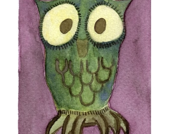 Watercolor Painting: Watercolor Illustration Owl -- Mini Art Print -- Little Thistle Owl -- ACEO Print