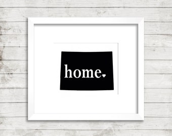 Colorado Home State with Heart Print Custom Modern Colorado State Home Decor Wall Art Print. Minimalist Art.Unique.Typography Print