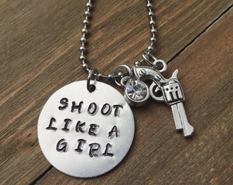 Shoot like a girl pendant