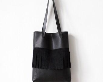 Rounded Fringe Black Tote bag No.Tl- 6025 festival tassel