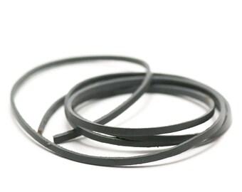1 m de cordon lanière cuir véritable 3x2 mm,gris