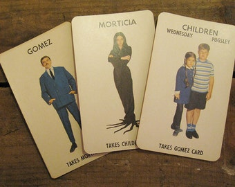 Vintage Milton Bradley Addams Family Game Cards - Set of 3 - Oversized Cards - Halloween