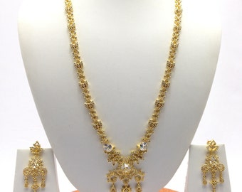 American Dimonds CZ Gold Plated Cubic Zirconia .Indian Jewelry Bridal Jewellery Necklace Set Indian Handmade Jewellery