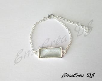 Bracelet adjustable gray Rainbow cabochon