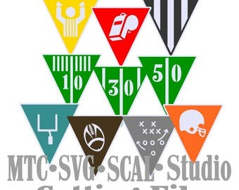SVG Cut File Banner Design #01 Football Bunting Party Decor Sports Cutting Bundle MTC SCAL Cricut Silhouette Cutting File
