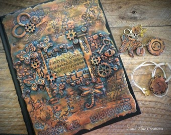 Steampunk Journal, Personalized Polymer Clay Journal, Personalized Sketchbook, Custom Journal, Custom Sketchbook, Personalized Diary