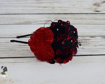 Handcrafted Red and Black Vintage Valentine Headband - Adult Heart Headband - Fancy Feather Headpiece - Roaring 20s Headband - Toddler Bows