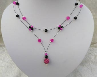Necklace bride fuchsia and black
