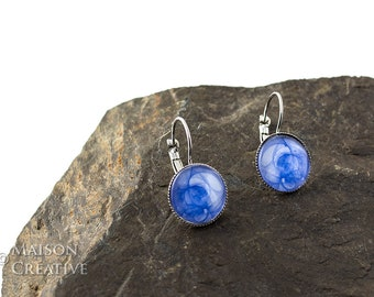 Earrings silver, blue white mysticism