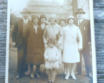Vintage Antique 1920/20s French sepia family photography