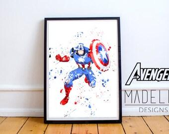 Captain America Watercolour Splatter, Avengers, Avengers Watercolour, Instant download