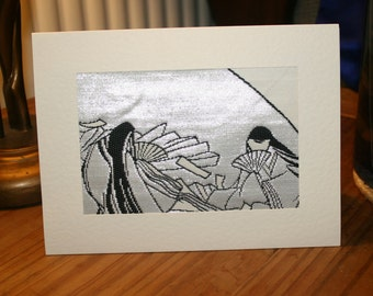 Vintage Japanese Obi Silk Greetings Card