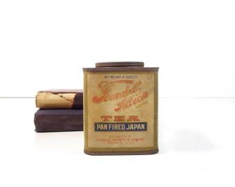 Vintage Tea Tin / 1910s Ferndell Albion Japan Tea Advertising Tin Can / Rustic Decor