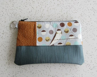 Small Key Ring Wallet - Charley Harper Wallet - Bird Gift - Blue Vegan Leather Wallet