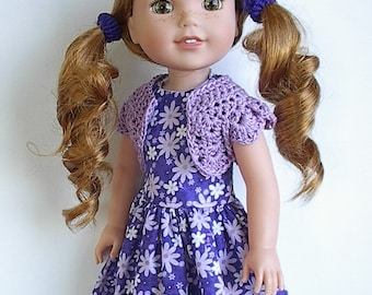 "14.5"" Doll Clothes Sleeveless Cotton Dress and Crocheted Bolero Shrug Handmade to fit Wellie Wishers Dolls - Purple with Lavender Flowers"