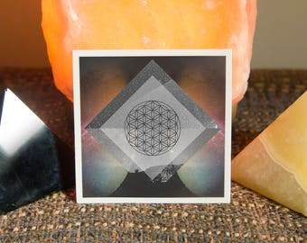 Flower of Life Sacred Geometry Sticker - Vinyl Stickers, seed of life, unity, energy, ancient symbol, crystal grid, boho, tarot, powerful