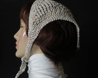 Scarves - head scarf - neck bandanna - babushka - Tweed - array of colors primarily white- Mixed Fiber - hand knit