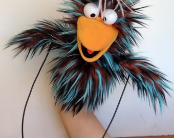 Bird Puppet - Blue Stripe