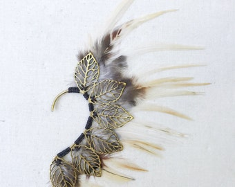 White Feather Ear Cuff | Ear Wrap | Tribal Festival Burning Man |  Boho Hippie | Elven | Ear Crawler Jacket