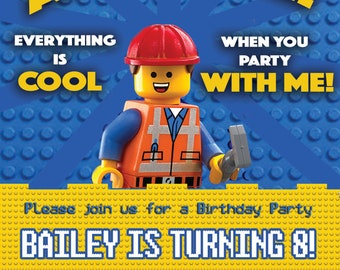 Everything is Awesome! Personalised Lego birthday party invitation x 20
