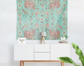 Floral tapestry wall hanging teal bird art tapestries floral art tapestry floral tapestries cottage chic tapestry shabby chic tapestry art