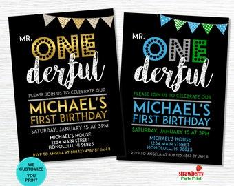 Mr ONEderful Invitation, 1st Birthday Invitation, Boy First Birthday, Mr Wonderful Themed Birthday, Customize Printable Invitation, A27