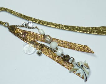 "Large bookmark jewel beads ""white fish"""