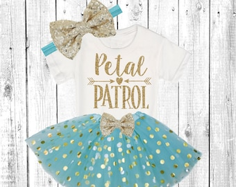 Petal Patrol. Flower Girl Shirt. Flower Girl Outfit. Flower Girl Tutu Outfit. ** In Aqua/Turquoise  and Gold **