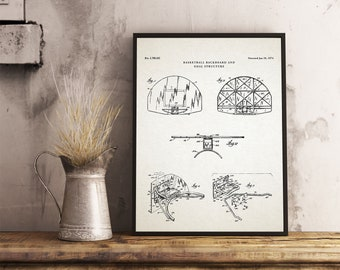 Sports blueprint etsy basketball backboard patent art blueprint basketball poster basketball gifts boys room wall malvernweather Choice Image