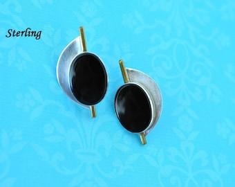 Signed AJV Modernist Sterling Silver Black Onyx Earrings, Clip On Earrings, Black Earrings, Sterling Earrings, Silver Earrings DB3