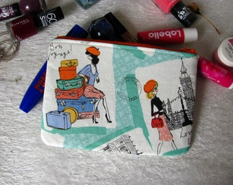 Zippered pouch with traveling women, makeup bag, phone case, purse