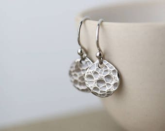 Sterling Silver Earrings for Women | Mother's Day Gift Idea | Women's Jewelry Handmade Hammered Dangle Earrings | Gift for Women