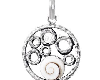 Silver Round Pendant Made With Shiva Eye Shell