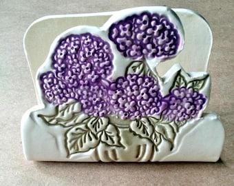 Ceramic Kitchen Sponge Holder recipe card holder Hydrangea
