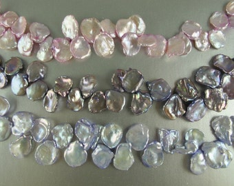Pink Lavender OR Light Lavender OR Dark Lavender Keishi Pearls, 11x16 to15x20mm, Large Top Drilled Cornflake, 5 Loose Pearls (P049)