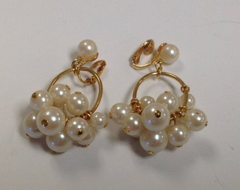 Vintage Avon Pearl Cluster Clip on Earrings