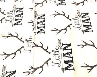 Modern Trendy Rustic Baby Boy Little Man Burp Cloth   Fabric by Corey Hudson Cotton Chenille Baby Shower Gift  Antlers Arrows Grey Black