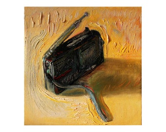 Giclee Fine Art Print - Old Radio - Original Still Life Oil Painting, Impasto Small Paintings Modern Contemporary Yellow Impasto Thick Oils