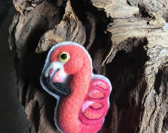 Needle felted Flamingo pin brooch